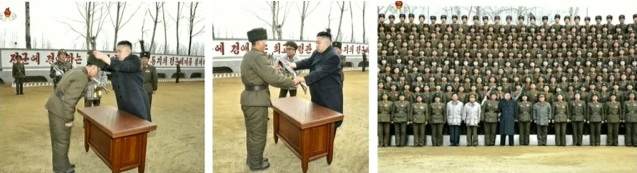 Kim Jong presents an automatic rifle (L), a pair of binoculars (C) and poses for a commemorative photograph during an inspection of the command element of KPA Unit #1973 on 22 March 2013 (Photos: KCTV screengrabs)