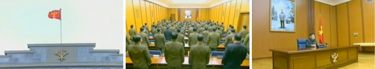 External establishing shot showing the KWP flag over the KWP #1 Office Building in Pyongyang (L);  The 3 February 2013 expanded CMC meeting (C); Kim Jong Un chairing the meeting (R) (Photos: KCTV screengrabs)