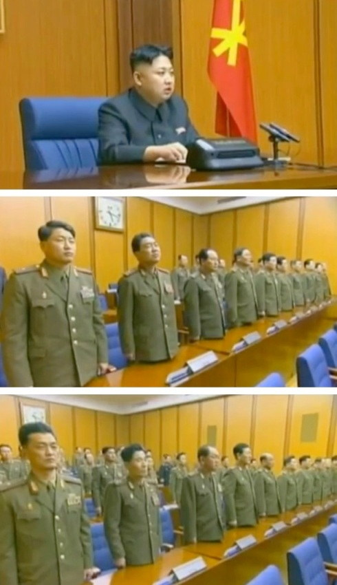 Kim Jong Un chairing the 3 February 2013 expanded CMC meeting (top) and 3rd generation KPA commanders and officials (middle and bottom) (Photos: KCTV screengrabs)
