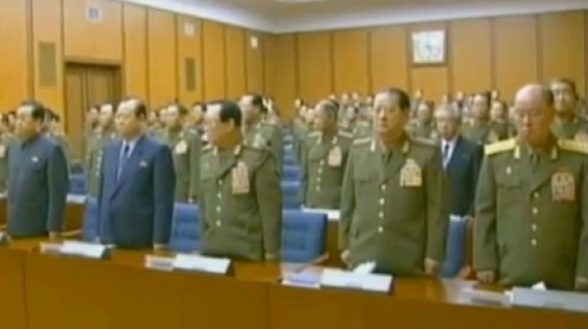 CMC Members attended the 3 February 2013 meeting (L-R) Jang Song Taek; Pak To Chun; VMar Kim Yong Chun; Gen. Kim Won Hong; and Gen. Ri Myong Su (Photos: KCTV screengrabs)