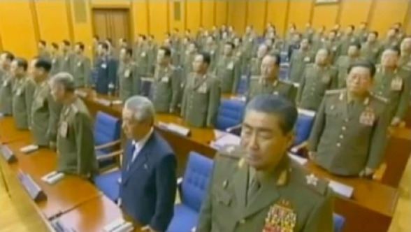 CMC Members and senior officials attending the 3 February 2013 meeting.  In this image are VMar Kim Jong Gak (front row, R), Ju Kyu Chang (front row, 2nd R), Gen. Yun Jong Rin (front row, 3rd R) and Gen. Pak Jae Gyong (2nd row, R) (Photos: KCTV screengrabs)