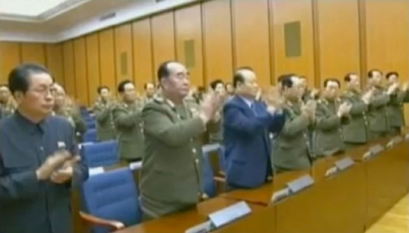 CMC members applaud during the meeting.  Among those in the front row in this image are Jang Song Taek (L), Gen. Kim Kyok Sik (2nd L), Pak To Chun (3rd L) and VMar Kim Yong Chun (4th L) (Photos: KCTV screengrabs)