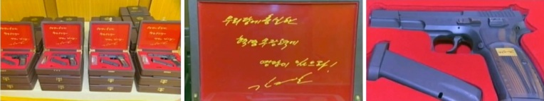 Presentation boxes (L) containing an autographed message from Kim Jong Un (C) of handguns (R) presented to meeting participants (Photos: KCTV screengrabs)