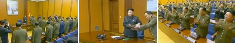 Over view of presentation ceremony at the end of the expanded CMC meeting (L) Gen. Hyon Yong Chol handing a presentation box to Kim Jong Un (C) and meeting participants applauding at the conclusion of the meeting (Photos: KCTV screengrabs)