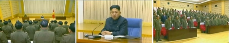 Overview of expanded CMC meeting held in February or March 2012 (L), Kim Jong Un chairing the meeting (C) and a view of CMC members and meeting participants (R) (Photos: KCTV screengrabs)