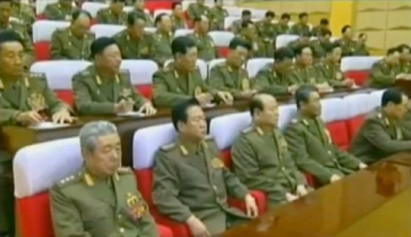 CMC members attending the 2012 meeting.  In the front row are Ju Kyu Chang (L), Choe Ryong Hae (2nd L) Pak To Chun (3rd L) and Kim Jong Gak (4th L) (Photos: KCTV screengrabs)