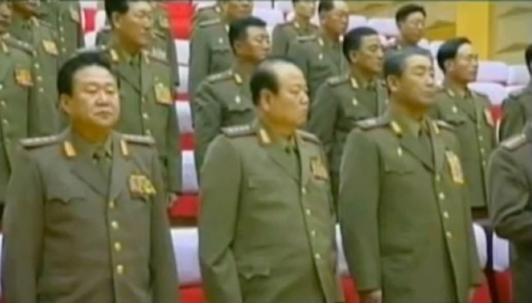 CMC members standing at the 2012 meeting: Choe Ryong Hae (L), Pak To Chun (C) and Kim Jong Gak (R) (Photos: KCTV screengrabs)