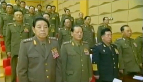 CMC members stand during the meeting in 2012.  In the front row are: Gen. Kim Kyong Ok (L), Gen. Kim Won Hong (2nd L), Gen. Jong Myong Do (3rd L) and Gen. Ri Pyong Chol (4th L) (Photos: KCTV screengrabs)