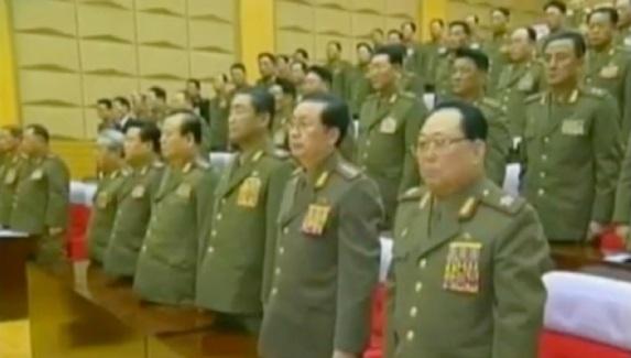 CMC members stand during the 2012 meeting.  In the front row in this image are VMar Kim Yong Chun (R), Jang Song Taek (2nd R), VMar Kim Jong Gak (3rd R), Pak To Chun (4th R), Choe Ryong Hae (5th R) and Ju Kyu Chang (6th R) (Photos: KCTV screengrabs)
