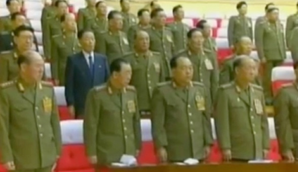 CMC members and senior security officials stand during the 2012 meeting.  In this image in the front row are: Gen. Ri Myong Su (L) Hyon Chol Hae (2nd L),  Choe Kyong Song (3rd L), and Gen. Yun Jong Rin (4th L) (Photos: KCTV screengrabs)