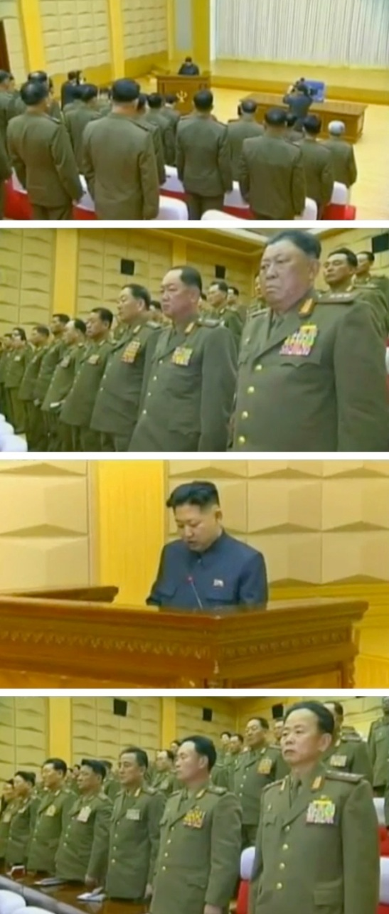 Overview of an expanded Party Central Military Commission meeting held in February or March 2012 with images of Kim Jong Un speaking, and 3rd generation KPA commanders and security officials (Photos: KCTV screengrabs)