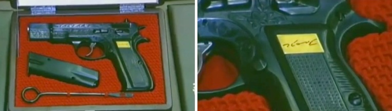 Presentation box of a handgun (L) presented to participants at the 2012 CMC meeting.  The grip contains KJU's autograph (R) (Photos: KCTV screengrabs)