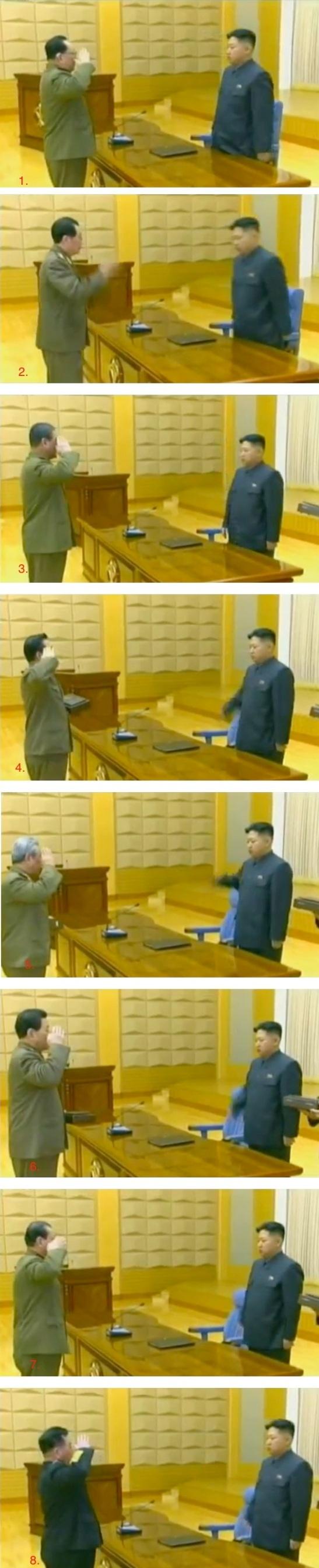 Presentation ceremony of handguns at the end of an expanded CMC meeting held in early 2012.  Among those presented with handguns are: VMar Kim Yong Chun (1.), Jang Song Taek (2.), VMar Kim Jong Gak (3.), Choe Ryong Hae (4.), Ju Kyu Chang (5.), Kim Kyong Ok (6.), Gen. Kim Won Hong (7.) and Gen. Jong Myong Do (8.) (Photos: KCTV screengrabs)