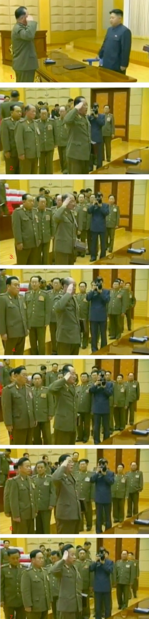 Presented with handguns at the conclusion of the expanded CMC meeting in early 2012 were: Gen. Ri Pyong Chol (1.), Gen. Choe Pu Il (2.), Gen. Yun Jong Rin (3.), Gen. Ri Myong Su (4.), Col. Gen. Jo Kyong Chol (5.), Gen. Pak Jae Gyong (6.), Lt. Gen. Pak Jong Chon (7.) (Photos: KCTV screengrabs)