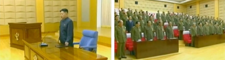 Kim Jong Un (L) concludes an expanded meeting of the Party Central Military Commission (R) held in early 2012 (Photos: KCTV screengrabs)