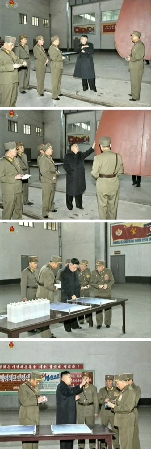 Kim Jong Un examines products produced by KPA Unit #1501 on 24 March 2013 (Photos: KCTV screengrabs)
