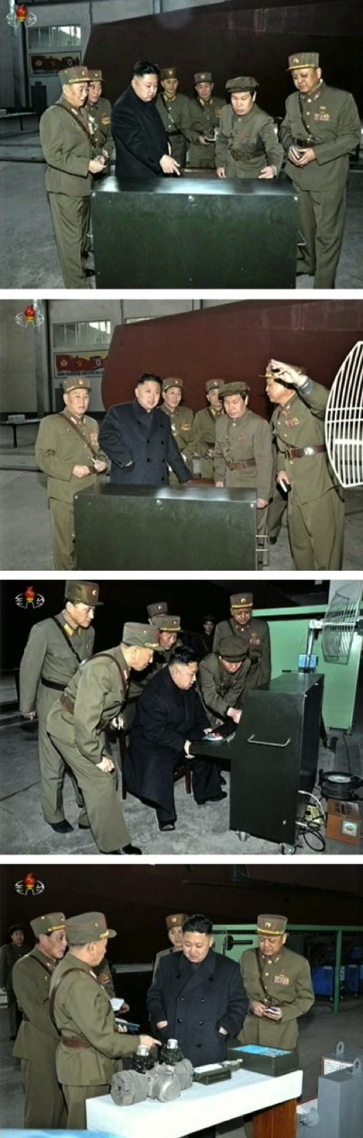Kim Jong Un tours a production site of KPA Unit #1501 on 24 March 2013 (Photos: KCTV screengrabs)