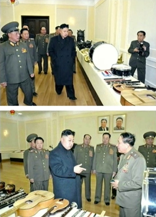 Kim Jong Un examines musical instruments produced by KPA factories and units on 24 March 2013 (Photos: KCTV screengrabs)