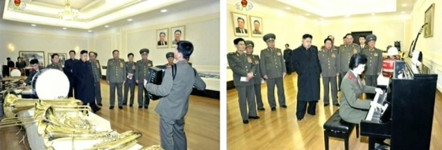 Kim Jong Un watches an accordion and piano being played by KPA service members whilst examining musical instruments produced by KPA factories and units on 24 March 2013 (Photos: KCTV screengrabs)