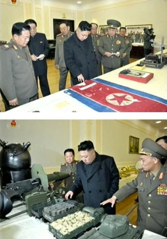 Kim Jong Un views a DPRK flag raised during the Fatherland Liberation (Korean) War (L) and other artifacts which will be displayed in the reconstructed war museum on 24 March 2013 (Photos: KCTV screengrabs)