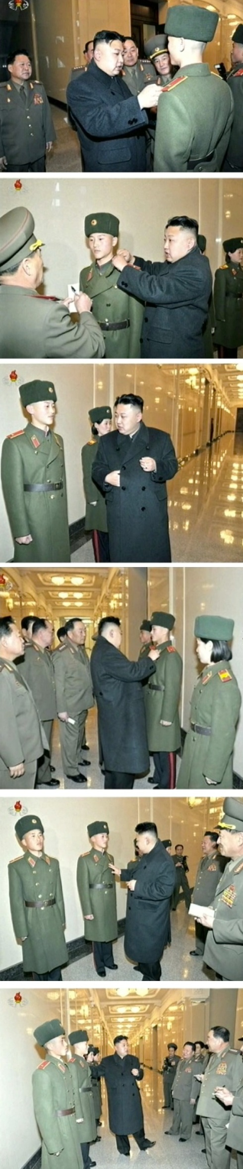 Kim Jong Un examines overcoats and other outerwear worn as part of the uniform by the students of Mangyo'ngdae and Kang Pan Sok Revolutionary Schools (Photos: KCTV screengrabs)