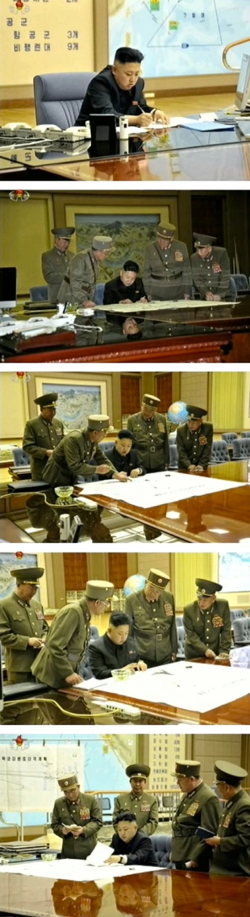 Kim Jong Un participates in an operational planning meeting in central Pyongyang on 29 March 2013 (Photos: KCTV screengrabs)