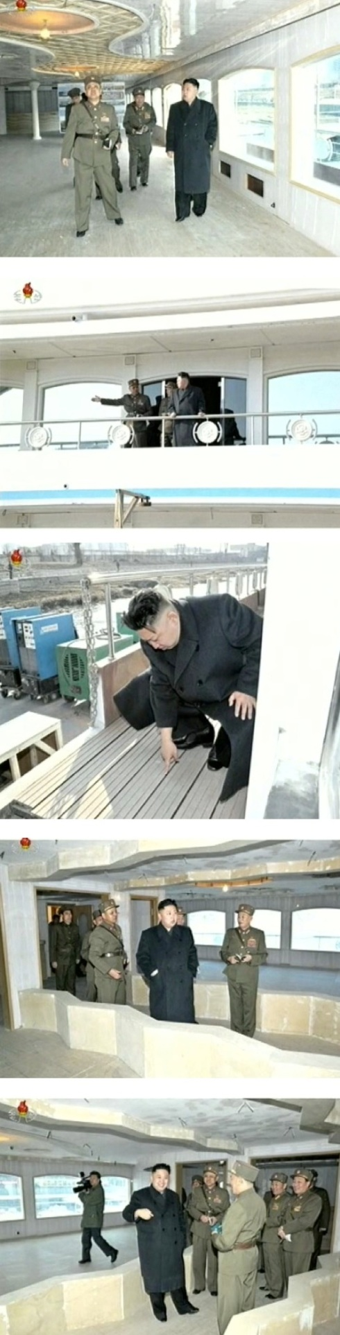 Kim Jong Un tours the Taedonggang Restaurant Boat under construction by KPA personnel on 24 March 2013 (Photos: KCTV screengrabs)