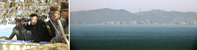 Kim Jong Un (3rd L) peers through binoculars at South Korea's [ROK[ Paekryong (Baengnyeong) Island (R) from an observation post on Wolnae Islet on 11 March 2013.  Also seen in attendance is Gen. Kim Yong Chol (2nd R), chief of the Reconnaissance General Bureau and spokesman of the KPA Supreme Command (Photos: Rodong Sinmun)