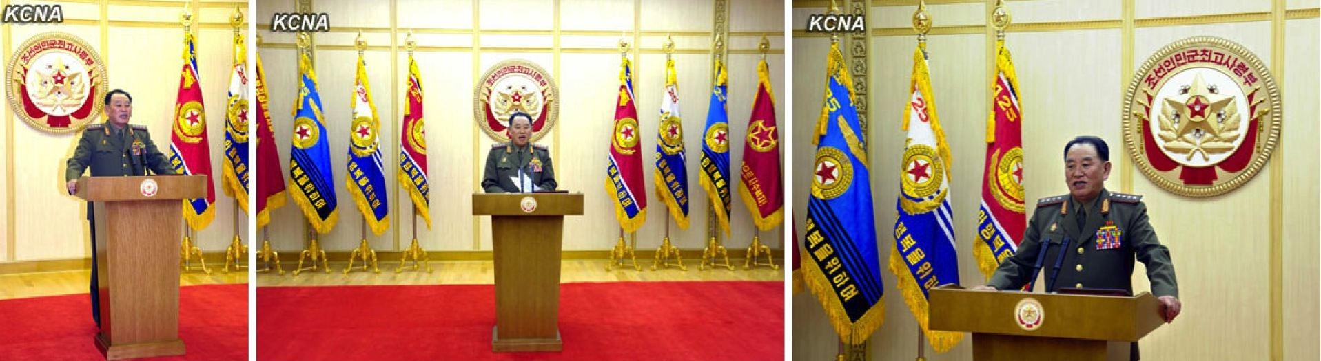 "Gen. Kim Yong Chol, acting as a spokesman for the KPA Supreme Command reads a statement on 5 March 2013 threatening to ""nullify"" the armistice agreement which ended active hostilities of the Korean War (Fatherland Liberation War).  (Photos: KCNA)"