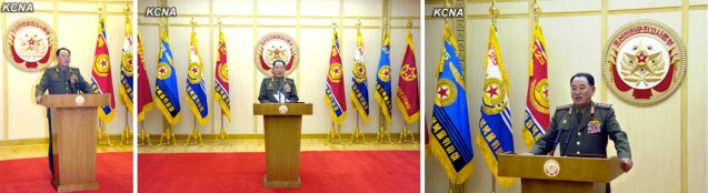 """Gen. Kim Yong Chol, acting as a spokesman for the KPA Supreme Command reads a statement on 5 March 2013 threatening to """"nullify"""" the armistice agreement which ended active hostilities of the Korean War (Fatherland Liberation War).  (Photos: KCNA)"""