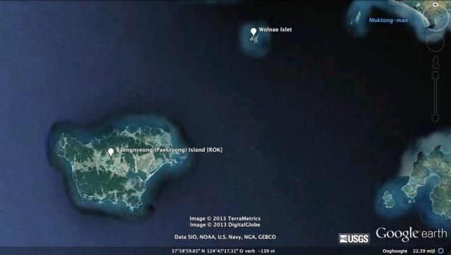 View of Wolnae Islet (DPRK) and Paekryong (Baengnyeong) Island (ROK) (Photo: Google image)
