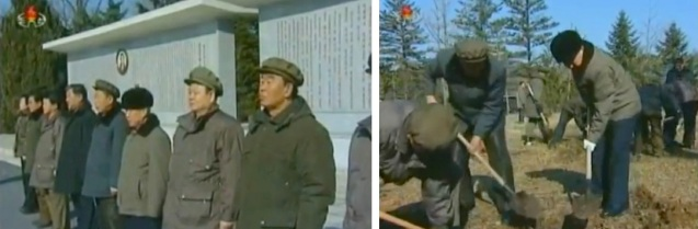 DPRK Premier Choe Yong Rim, KWP Secretary Pak To Chun and other officials (L) attend a meeting prior to planting trees in Pyongyang (R) on 1 March 2013 (Photos: KCTV screengrabs)