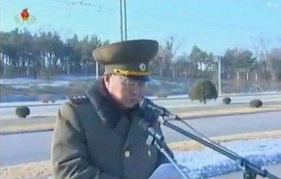 Minister of the People's Armed Forces Gen. Kim Kyok Sik speaks a meeting of KPA personnel prior to planting trees near Ku'msusan in Pyongyang (Photo: KCTV screengrab)