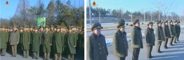 KPA service members and officers (L) and senior KPA officials (R) attend a meeting before planting trees near Ku'msusan Memorial Palace of the Sun (Photo: KCTV screengrabs)