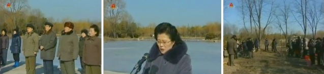 KWP Secretary Choe Thae Bok and Chief Secretary of the Pyongyang City KWP Committee Mun Kyong Dok and other officials (L) attend a Korean Democratic Women's Union tree planting event (R).  KDWU Chairwoman Ro Song Sil (C) delivers a report. (Photos: KCTV screengrabs)