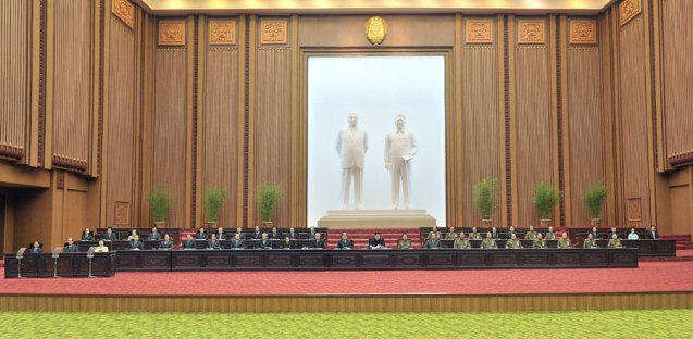 A view of the rostrum of the seventh session of the 12th Supreme People's Assembly in the Mansudae Assembly Hall in Pyonyang on 1 April 2013.  Seen in the background are statues of DPRK founder and president Kim Il Sung and his son, late supreme leader Kim Jong Il (Photo: Rodong Sinmun)