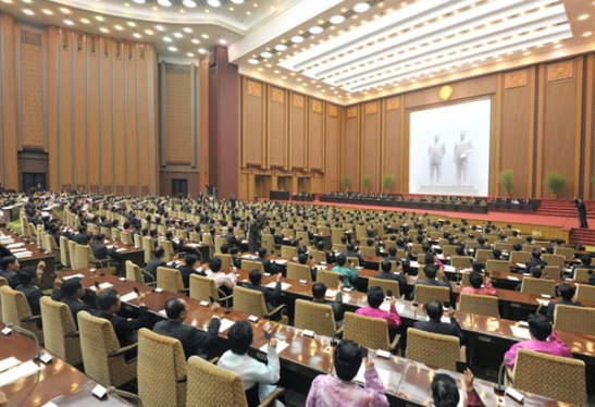 View from the perspective of Supreme People's Assembly deputies (delegates) at the 7th session of the 12th SPA at Mansudae Assembly Hall in Pyongyang on 1 April 2013 (Photo: Rodong Sinmun)