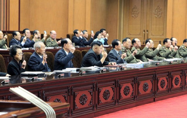 Members of the central leadership display their credentials during the 7th session of the 12th SPA held in at Mansudae Assembly Hall on 1 April 2013. Visibke in the front row in this image (L-R) are Kim Kyong Hui, Choe Yong Rim, Kim Yong Nam, Jang Song Taek, Gen. Hyon Yong Chol, Gen. Kim Kyok Sik, VMar Kim Yong Chun, VMar Ri Yong Mu and Gen. O Kuk Ryol (Photo: Rodong Sinmun)