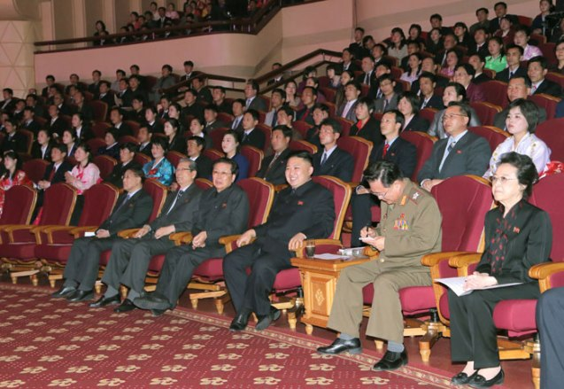 Kim Jong Un (3rd R) watches a concert by the U'nhasu Orchestra at the People's Theater in central Pyongyang on 15 April 2013.  Seated with KJU are his aunt Kim Kyong Hui (R), VMar Choe Ryong Hae (2nd R), Jang Song Taek (4th R), Choe Tae Bok (5th R) and Kang Sok Ju (6th R).  (Photo: Rodong Sinmun)