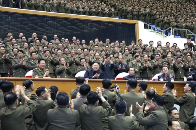 Kim Jong Un (seated 2nd L) watches a sports contest between the Kim Il Sung Military University and and Kim Il SungUniversity of Politics in Pyongyang on 15 April 2013.  Seated next to him are: VMar Choe Ryong Hae (L), Jang Song Taek (3rd L) and Kim Kyong Ok (4th L) (Photo: Rodong Sinmun)