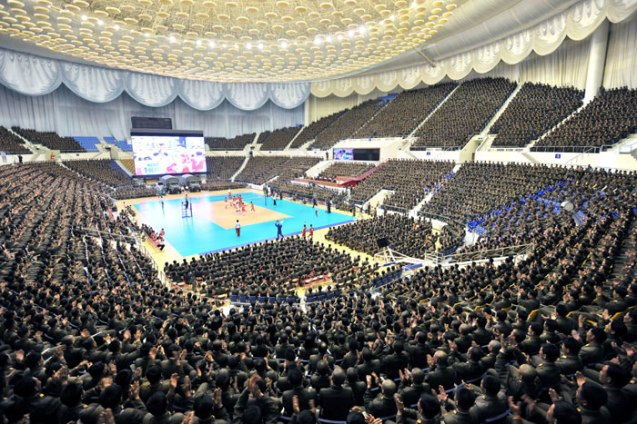 Overview of spectators at a 15 April 2013 volleyball game between KIS Military University and KIS University of Politics, attended by Kim Jong Un, on the 101st anniversary of the birth of DPRK President and founder Kim Il Sung (Photo: Rodong Sinmun)
