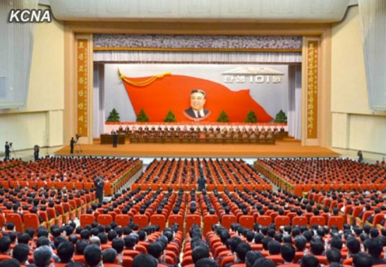 A view of the platform (rostrum) and participants at a national meeting held in Pyongyang on 14 April 2013 to commemorate the 101st anniversary of the birth of Kim Il Sung, the late DPRK President and founder (Photo: KCNA)