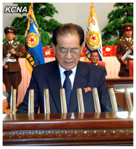 DPRK Premier Pak Pong Ju delivers a report at a national meeting commemorating the 20th anniversary Kim Jong Il's election as NDC Chairman held in Pyongyang on 8 April 2013 (Photo: KCNA)