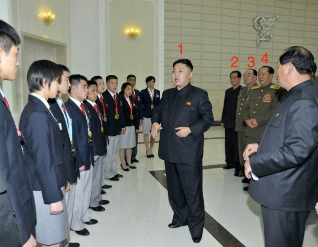 Kim Jong Un (1) greets DPRK athletes who received gold medals or placed in the top of their categories at international competitions held between February and April 2013.  Also in attendance at the event held at Kim Il Sung Stadium in Pyongyang on 29 April 2013 are DPRK Premier Pak Pong Ju (2), Minister of the People's Armed Forces Gen. Kim Kyok Sik (3), and Minister of People's Security Col. Gen. Choe Pu Il (4) (Photo: Rodong Sinmun)