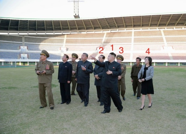 Kim Jong Un (1) provides instructions on the renovation of Yanggakdo Stadium in Pyongyang.  Also seen in attendance are Jang Song Taek (2), VMar Choe Ryong Hae (3) and Kim Jong Un's wife Ri Sol Ju (4) (Photo: Rodong Sinmun)