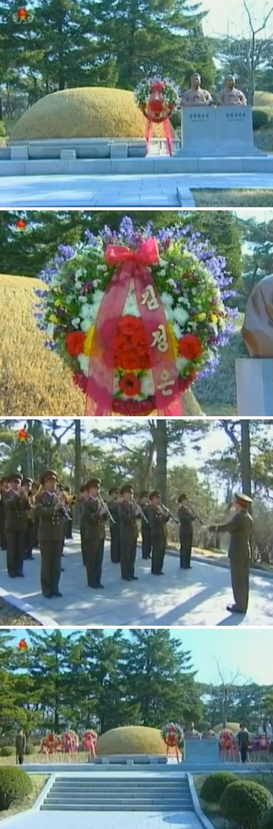 A floral wreath-laying ceremony at the grave Kang Pan Sok in Mangyo'ngdae, Pyongyang on 21 April 2013 (Photos: KCTV screengrabs)