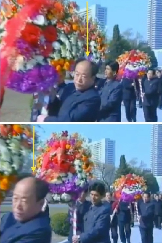 Jon Il Chun (annotated), a principal of the Taesong Group, deputy director of the KWP Finance and Accounting Department and chief of Office #39, helps carry a floral wreath to the Kang Pan Sok statue in Chilgol Revolutionary Site in Pyongyang on 21 April 2013 (Photos: KCTV screengrabs)