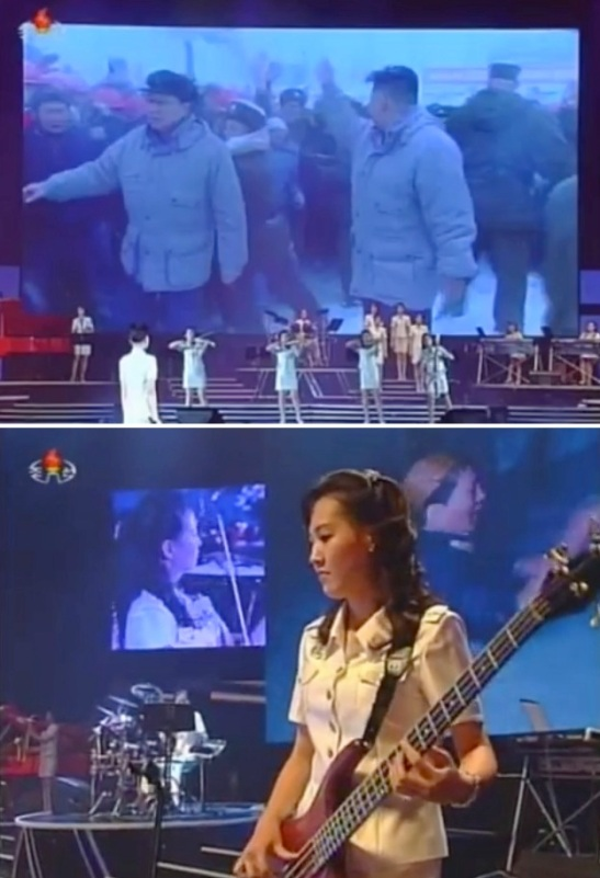 A Moranbong Band performance (Photos: KCTV screengrabs/NKLW file photo)