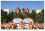 Statues of Kim Il Sung and Kim Jong Il at the headquarters of the Ministry of People's Security in Pyongyang, after a dedication ceremony held on 14 April 2013 (Photo: KCNA)