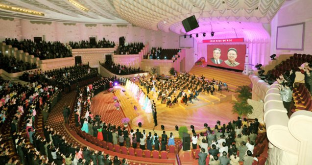 May Day concert by the U'nhasu Orchestra at the People's Theater in Pyongyang (Photo: Rodong Sinmun)